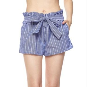 Pants - Stripe Paperbag Shorts with Waist Tie